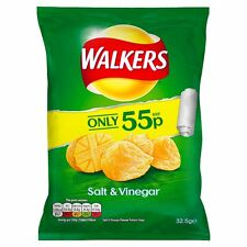 WALKERS SALT AND VINEGAR CRISPS FULL CASE X 32 BAGS £17.49