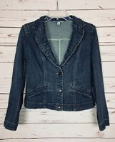 CAbi Women's M Medium Denim Blue Jean Button Lucy Cute Spring Jacket Blazer $149