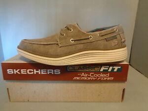 Size 9.5 Skechers Status 2.0 -Lorano Men's Beige Canvas Walking Boat Shoes NIB