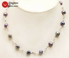 Floating 8-9mm Black Natural FW pearl and silver plate Elbow 17'' Necklace-n6299
