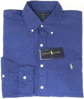 Polo Ralph Lauren Long Sleeve Shirt Blue Mens RL Untucked Fit Classic NEW $98