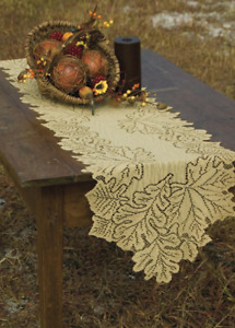 """Heritage Lace Goldenrod LEAF 14""""x68"""" Table Runner Fall Thanksgiving USA MADE!"""