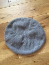 100% Pure cashmere knitted beret hat, grey, brand new