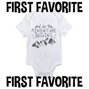 And So The Adventure Begins Baby Onesie Travel Shower Gift Mountains Gerber