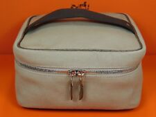 Hermes Cosmetic Vanity Pouch Brown Canvas Toiletry Travel Bag Carry On Kit LP74
