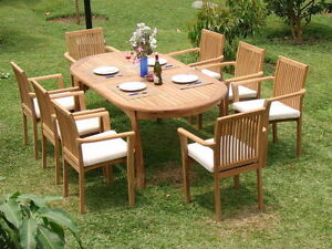 """Lua 9pc Dining 94"""" Oval Table Arm Stacking Chair Set A-Grade Teak Outdoor New"""