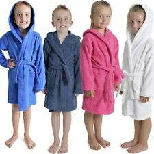 Kids/Childrens Hooded Towelling Robe Boys/Girls Dressing Gown Age 7-13 Years