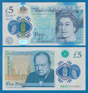 Great Britain England 5 Pounds P 394 2015 UNC Polymer CHURCHILL UK Low Shipping!