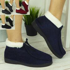 Womens Ladies Slippers Boots Front Zip Comfy Bootie Fleece Warm Thermal Shoes