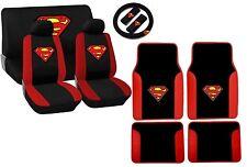Superman Logo Black and Red Trim Seat Cover Set Floor Mats Steering Wheel HS