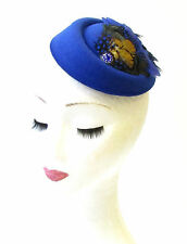 Royal Blue Green Pheasant Feather Pillbox Hat 1940s Fascinator Vintage Hair 1316