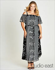 Studio East Katie's Black white Cold shoulder Maxi DRESS size 14 NEW + belt