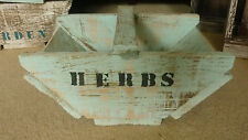 RUSTIC WOODEN TRUG FRENCH COUNTRY STYLE PAINTED  HERB TRAY BOX  HAND CRAFTED