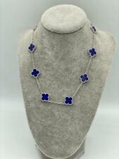 10 lapis lazuli clover necklace 18 k white gold plated motif necklace