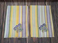 Longaberger Easter Stripe Embroided Flowers Napkins Cotton 23202234 VTG Spring