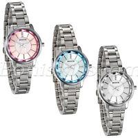 Women Business Stainless Steel Band Rhinestone Charm Precious Quartz Wrist Watch