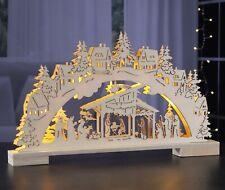 Schwibbogen Lichterbogen Krippe Stall Jesus Holz Weihnachten Timer Fenster Deko