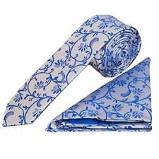 Royal Blue Floral Skinny Boys Tie and Handkerchief Set Childrens Wedding Tie