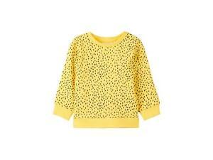 NAME IT Unisex Baby Sweatshirt gelb Bio-Baumwolle Pullover Punkte Mädchen Junge