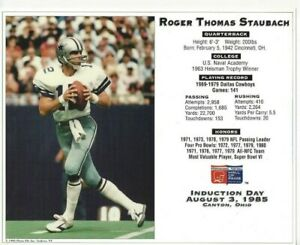 Roger Staubach 8x10 Photo File Pro Football Hall of Fame Induction Rare B835