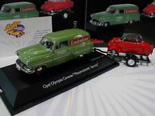 Schuco 02667 # Opel Olympia Caravan mit Anhänger und Messerschmitt KR grün 1:43