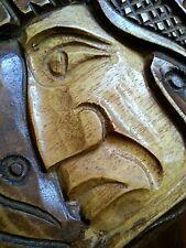 Vintage Honduras hand carved wooden box Indian warrior