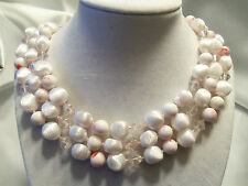 AWESOME Vintage Triple-Strand MARSHMELLOW, CANDY CANE, etc Bead Necklace 13EN276