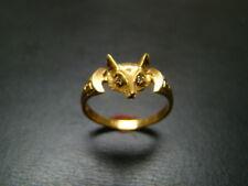 Classic 14K Gold Fox Ring with Diamond eyes