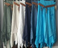 NEW LADIES COTTON ITALIAN BELT BOHO GYPSY TIERED ASYMMETRIC HITCHED HEM SKIRTS