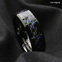 8mm Black Tungsten Ring Black Blue Carbon Fiber Wedding Band ATOP Men's jewelry