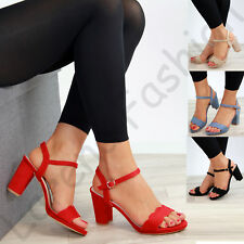 New Womens High Block Heel Sandals Scallop Ankle Strap Party Shoes Sizes 3-8