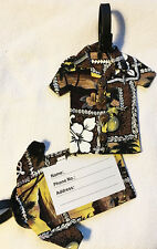 Hawaiian Luggage ID Bag Tag Travel Accessory Floral Aloha Shirt Canvas Hawaii NB