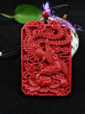 Fashion Chinese Natural Red Organic Cinnabar Phoenix Pendant Lucky Amulet Hot
