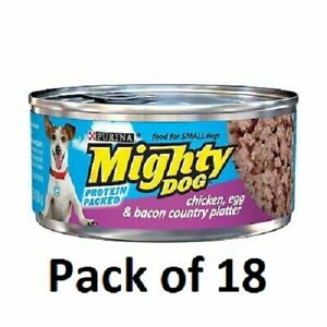 (Pack of 18) Purina Mighty Dog Wet Dog Food Chicken, Egg & Bacon 5.5 oz
