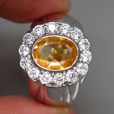 New 925 Silver Ring 100%Natural Top Golden Yellow Citrine Oval Facet Unheated