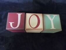 """Cute Christmas Table Top Assorted Colors """"JOY"""" Hollow Wood Letter Cubes 3 1/2"""
