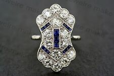Certified White & Blue Sapphire Art Deco Engagement Wedding 14K White Gold Ring