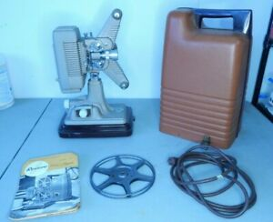 Revere 8mm Projector Model P-90 with Case, Power Cord, Take-up Reel, & Manual