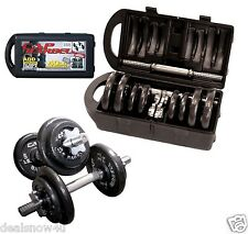 40 Pound Adjustable Dumbbell Set with Case Weight Lift Exercise Gym 2 Handles