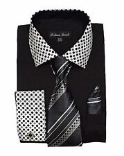 Men's Fashion Solid/Polka Dot French cuff Dress Shirt Matched Tie&Hanky Black630