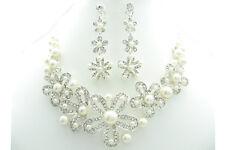 """18"""" weiße runde Shell Pearl große Blume Halskette & Clip Auf Ohrringe Set Braut"""