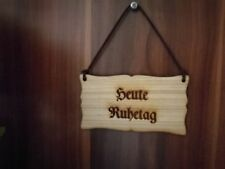 Heute RuhetagTürschild Vintage Schild Holz Holzschild mit Lederband Shabby