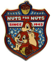 Disney Pin 64818 WDW Character Crest Chip 'n Dale Nuts for Nuts 1942 LE *
