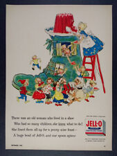1955 Jell-O Jello Gelatin old woman shoe nursery rhyme art vintage print Ad