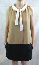 Maje Size 3 or 12 Beige & Navy Contrast Shift Dress