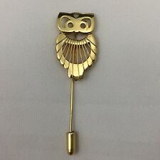 NAPIER METAL OWL SHAPED BROOCH / STRAIGHT PIN BUTTON-GOLD COLOR-2.5 INCHES LONG