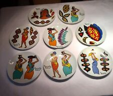 Kennedy Bahia Rare Silk Screen Porcelain Dinner Set Of 8 Plates
