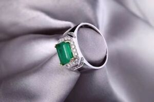 Gorgeous Natural Men Colombian Emerald and Diamond Ring, Sterling Silver S925