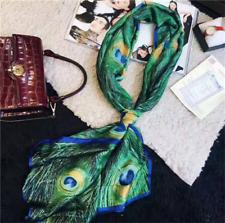 180x90cm Women Peacock Feather Silk Scarf Hijabs Scarves Wraps Shawl Pashmina A+