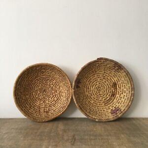 Vintage x2 Woven Coiled Wicker Baskets Rattan Fruit Bowls Display Boho Storage